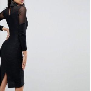 c3fecd1cde ASOS Dresses - ASOS Long Sleeve Deep Plunge Bandage Mesh Midi 4